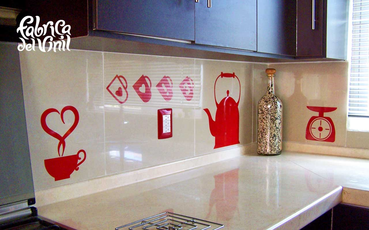 Cenefa para cocina y stickers para refrigerador utensilios for Vinilos para banos y cocinas