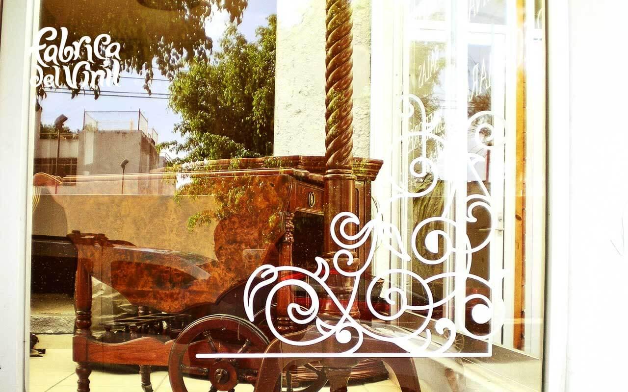Decals decorativas para vitrina de muebler a en for Mueblerias en la plata