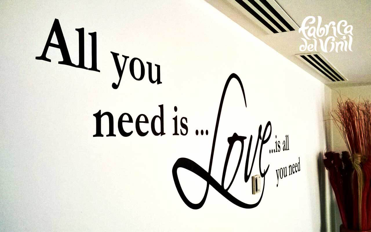 All You Need Is Love Vynil Decal sobre pared