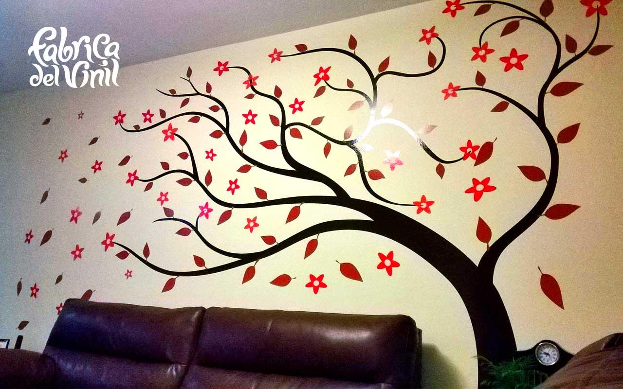 Rbol inclinado por el viento en vinilo decorativo sobre paredes fabrica del vinil - Vinilos de arboles para paredes ...