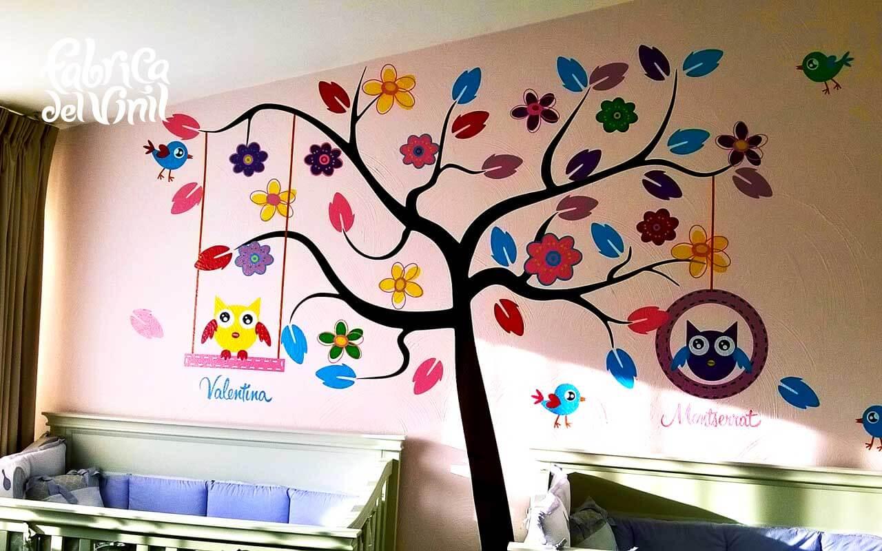 Wall Sticker Decorativo Rbol Con B Hos Y P Jaros En Habitaci N De  ~ Murales Decorativos Para Habitaciones De Adultos