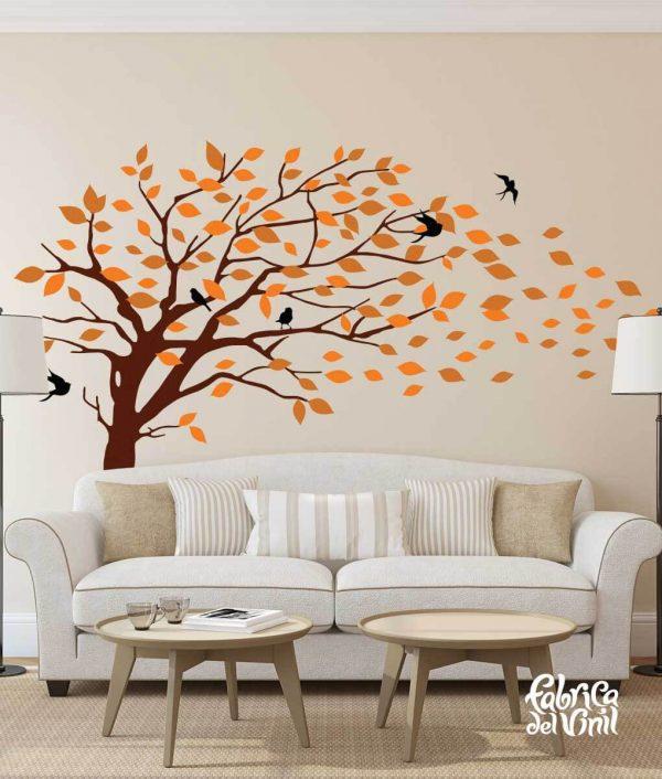 Combinación de colores Autumm / Otoño: black / negro, brown / café, orange / naranja, terracotta / terracota. Árbol Inclinado por el Viento Vinil Decorativo / Wall Decal Windy Tree flying Leaves.