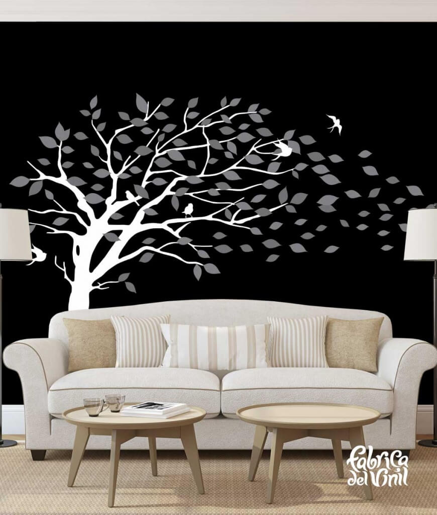 Combinación de colores Dark / Oscuro: dark gray / gris oscuro, gray / gris, white / blanco. Árbol Inclinado por el Viento Vinil Decorativo / Wall Decal Windy Tree flying Leaves.