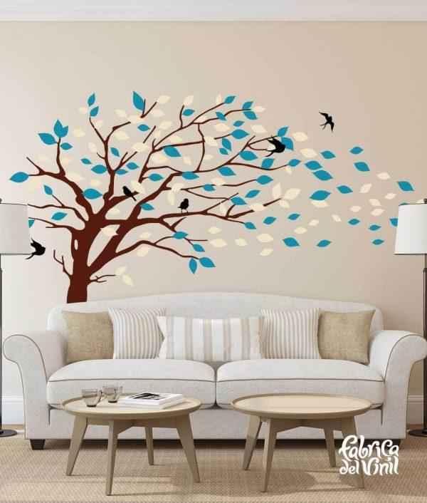 Combinación de colores Spring / Primavera: black / negro, beige, brown / cafe, teal / verde azulado. Árbol Inclinado por el Viento Vinil Decorativo / Wall Decal Windy Tree flying Leaves.