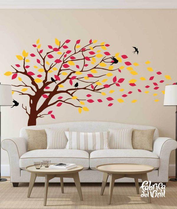 Combinación de colores Summer / Verano: black / negro, brown / cafe, red / rojo, yellow / amarillo. Árbol Inclinado por el Viento Vinil Decorativo / Wall Decal Windy Tree flying Leaves.