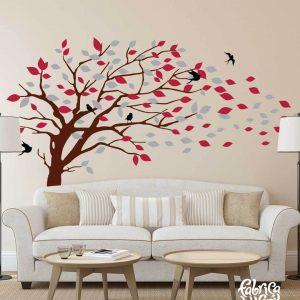 Combinación de colores Vintage/ Antiguo: black / negro, brown / café, cardinal red / tinto, silver / plata. Árbol Inclinado por el Viento Vinil Decorativo / Wall Decal Windy Tree flying Leaves.