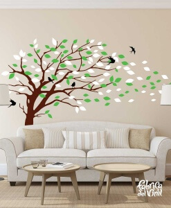 Combinación de colores Winter / Invierno: black / negro, brown / cafe, spring green / verde primavera, white / blanco. Árbol Inclinado por el Viento Vinil Decorativo / Wall Decal Windy Tree flying Leaves.