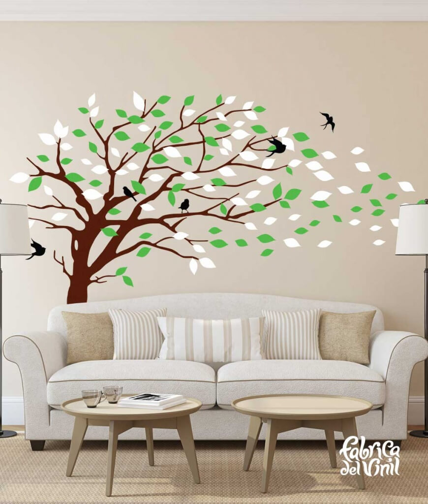 Combinación de colores Winter / Invierno: black / negro, brown / cafe, spring green / verde primavera, white / blanco. Árbol Inclinado por el Viento Vinil Decorativo / Wall Decal Windy Tree flying Leaves.