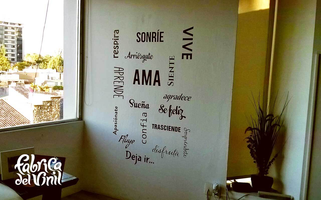 Vive Ama y Deja Vivir palabras y frases motivacionales, poesía, tipografía, letras, en vinil adhesivo para pared en Providencia Guadalajara Jalisco México