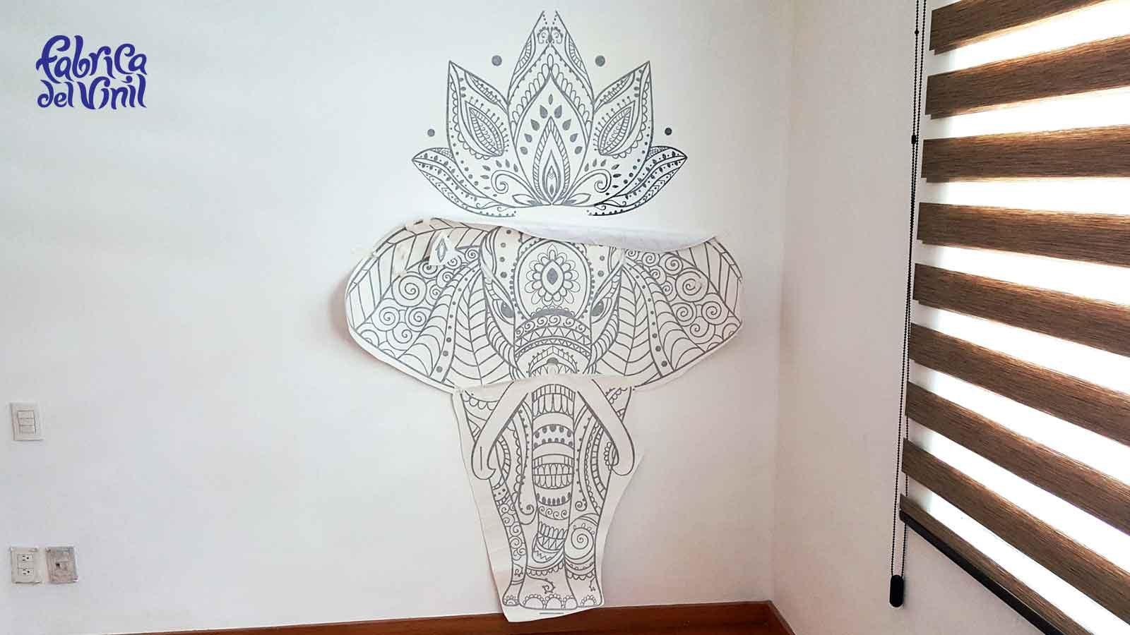 elefante mandala café vinilo decorativo para paredes en méxico
