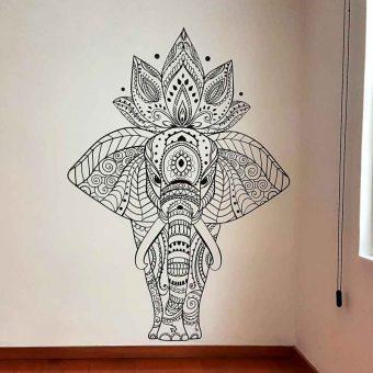 elefante mandala vinil café para decoración de interiores en méxico